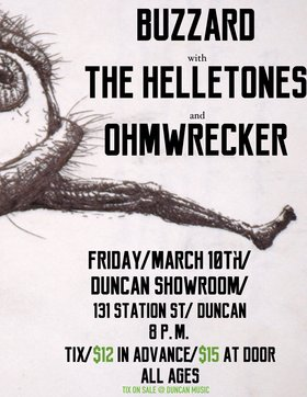 Rock and Roll Extravaganza: BuzzArd, The Helletones, OhmWrecker @ Duncan Showroom, Downstairs Mar 10 2017 - Mar 31st @ Duncan Showroom, Downstairs