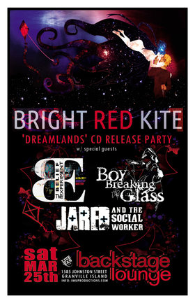 BRIGHT RED KITE CD Release Party: Bright Red Kite, Boy Breaking Glass, The Belief Experiment, Jared Fowler, Jared and the Social Worker @ Backstage Lounge Mar 25 2017 - Sep 28th @ Backstage Lounge