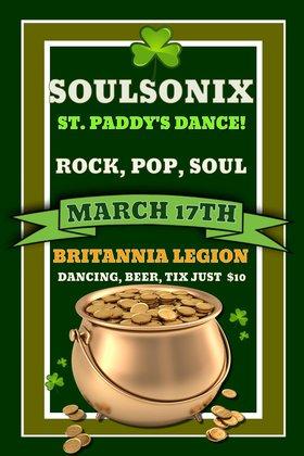 Soulsonix St. Paddy's Dance: SoulSonix @ Britannia Legion #7 Mar 17 2017 - Oct 24th @ Britannia Legion #7