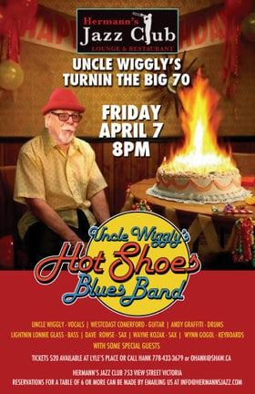 Uncle Wigglys' turnin the Big 70: Uncle Wigglys Hot Shoes Blues Band @ Hermann's Jazz Club Apr 7 2017 - Dec 13th @ Hermann's Jazz Club
