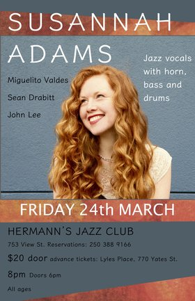 Susannah Adams, Sean Drabitt, Miguelito Valdes, John Lee @ Hermann's Jazz Club Mar 24 2017 - Sep 22nd @ Hermann's Jazz Club