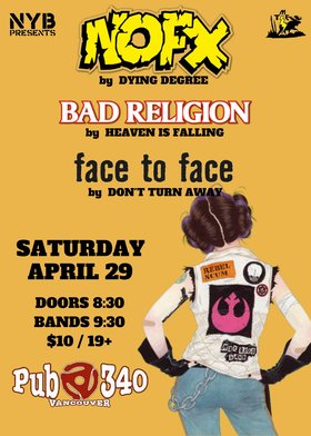 Punk Tributes to: NOFX, Bad Religion, Face to Face @ Pub 340 Apr 29 2017 - Oct 30th @ Pub 340