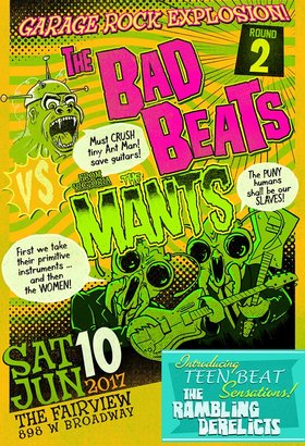 Garage Rock Explosion!!: The Bad Beats, The Mants, The Ramling Derelicts @ Fairview Pub Jun 10 2017 - Mar 31st @ Fairview Pub