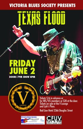 Victoria Blues Society presents Texas Flood a Tribute to Stevie Ray Vaughan: Texas Flood, Renovation Blues Band @ V-lounge Jun 2 2017 - Oct 17th @ V-lounge