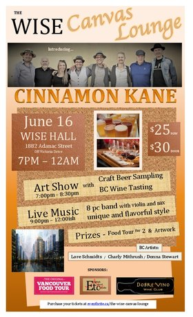 The WISE Canvas Lounge: Cinnamon Kane  (8pc band) @ WISE Hall Jun 16 2017 - Dec 10th @ WISE Hall