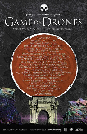 Game of Drones: Butter City Poster Boys, Encounterxxist, Francois Houle, Giorgio Magnanensi, Gran Am, In Mirrors, James Meger, Joda Clement, John Brennan, Jon Meade, JS Aurelius, Kristen Roos, Marina Hasselberg, Maskara, Matt Skillings, Memory Palace, Outer Party, Prophecy Sun , Rrkkttts, scant intone , THE NAUSEA  , V.VECKER, Whip of the U.F.O., Wynne Palmer @ Red Gate Revue Stage May 27 2017 - Jan 17th @ Red Gate Revue Stage