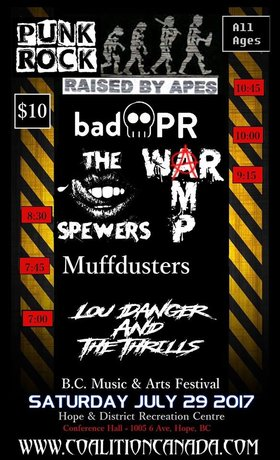 ALL AGES PUNK ROCK: Raised By Apes, Bad PR, War Amp , Spewers, Muffdusters, Lou Danger & The Thrills @ Hope Rec Center Jul 29 2017 - Nov 26th @ Hope Rec Center