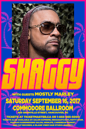 Shaggy, Mostly Marley @ The Commodore Ballroom Sep 16 2017 - May 29th @ The Commodore Ballroom