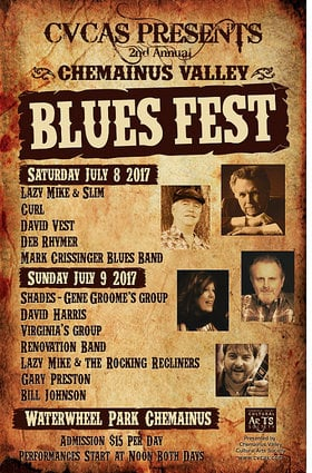 Chemainus Valley Blues Fest:  Shades (featuring Gene Grooms), Dave Harris, Lady V and Key Krasher, Renovation Blues Band, Lazy Mike  & the Rockin' Recliners, Gary Preston and the Kingmixers, Bill Johnson @ Chemainus Waterwheel Park Bandshell Jul 9 2017 - Jan 16th @ Chemainus Waterwheel Park Bandshell