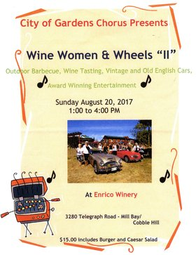 Wine, Women and Wheels II: PACIFIC EDGE CHORUS, City of Gardens Chorus @ Enrico Winery, 3280 Telegraph Road, Mill Bay/Cobble Hill Aug 20 2017 - Mar 29th @ Enrico Winery, 3280 Telegraph Road, Mill Bay/Cobble Hill