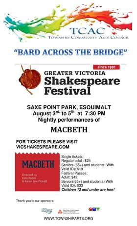Bard across the bridge presents Macbeth: Greater Victoria Shakespeare Festival @ Saxe Point Park Aug 3 2017 - Jan 21st @ Saxe Point Park