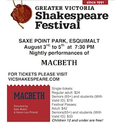 Macbeth, Bard across the Bridge: Greater Victoria Sharespeare Festival @ Saxe Point Park Aug 3 2017 - Jan 21st @ Saxe Point Park