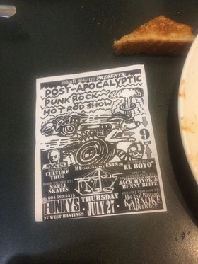 Post-Apocalyptic Punk Rock Hot Rod Show: Art by El Boyo, Photography by Culture Thug, Jack Havoc, Bunny Blitz, Precious Dudes, The Evil Bastard SCARYOKE Experience @ Funky Winker Beans Jul 27 2017 - Jan 25th @ Funky Winker Beans