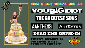 You Big Idiot, Greatest Sons, AANTHEMS, Anteater, Dead End Drive In @ Pub 34 Aug 18 2017 - Oct 30th @ Pub 34