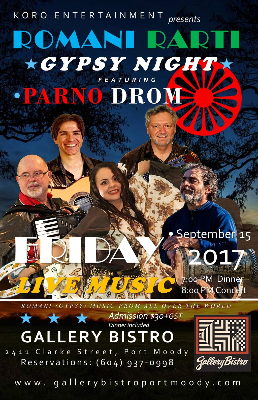 Romani Rarti-Gypsy Night: Parno Drom @ Gallery Bistro - Sep 15, 2017