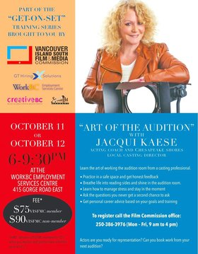 Art of the Audition with Jacqui Kaese:  Jacqui Kaese  @ WorkBC Employment Services Centre Oct 11 2017 - Jun 1st @ WorkBC Employment Services Centre