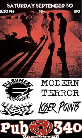 PUNK ROCK: Modern Terror, Ellesmere, Contra Code, Loser Points @ SBC 109 E Hastings St Sep 30 2017 - May 28th @ SBC 109 E Hastings St