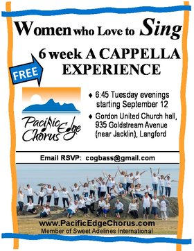 FREE 6 WEEK VOCAL WORKSHOP: PACIFIC EDGE CHORUS @ Gordon United Church Hall Sep 12 2017 - Aug 12th @ Gordon United Church Hall