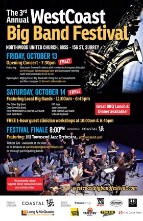 WestCoast Big Band Festival 2017: Jill Townsend Jazz Orchestra @ Northwood United Church Oct 14 2017 - Feb 17th @ Northwood United Church
