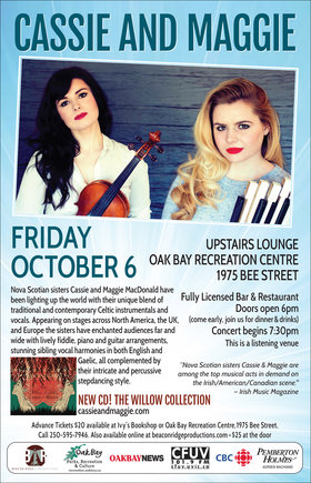 Cassie & Maggie MacDonald @ Upstairs Lounge - Oak Bay Recreation Centre Oct 6 2017 - Mar 31st @ Upstairs Lounge - Oak Bay Recreation Centre