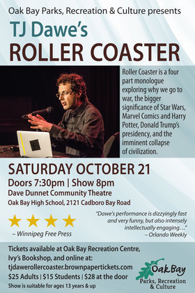 Roller Coaster by TJ Dawe: TJ Dawe @ Dave Dunnet Community Theatre (Oak Bay High School) Oct 21 2017 - Feb 26th @ Dave Dunnet Community Theatre (Oak Bay High School)