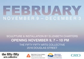 February: Elizabeth Charters  @ the fifty fifty arts collective Nov 9 2017 - Jun 25th @ the fifty fifty arts collective