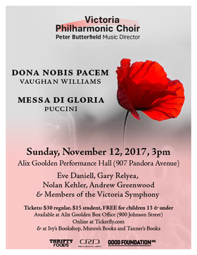 The Victoria Philharmonic Choir presents music by Vaughan Williams & Puccini @ Alix Goolden Performance Hall Nov 12 2017 - Mar 31st @ Alix Goolden Performance Hall