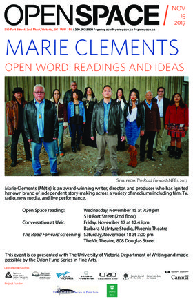 Open Word: Readings and Ideas: Marie Clements @ Open Space Nov 15 2017 - Feb 22nd @ Open Space