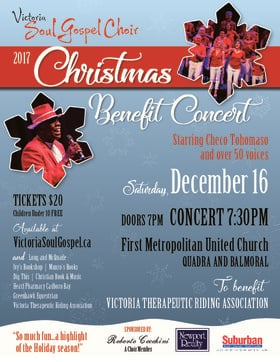 Victoria Soul Gospel Choir Christmas Benefit Concert: Victoria Soul Gospel Choir @ First Metropolitan United Church Dec 16 2017 - Apr 20th @ First Metropolitan United Church
