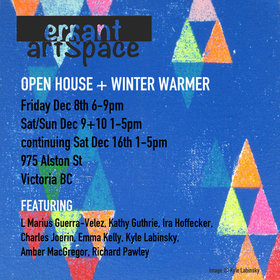 Open House and Winter Warmer: L Marius Guerra Velex, Amber McGregor, Ira Hoffecker, Emma Kelly, Kathy Guthrie, Charles Joerin, Kyle Labinsky, Richard Pawley @ Errant ArtSpace Dec 8 2017 - Jul 5th @ Errant ArtSpace