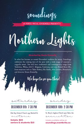 """Northern Lights"": Soundings Vocal Ensemble @ St. Mary's Anglican Church Dec 10 2017 - Jun 6th @ St. Mary's Anglican Church"