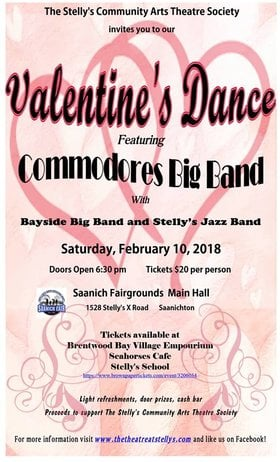 Valentine's Dance: Commodores Big Band, Kim Greenwood @ Saanich Fairgrounds Feb 10 2018 - Aug 14th @ Saanich Fairgrounds