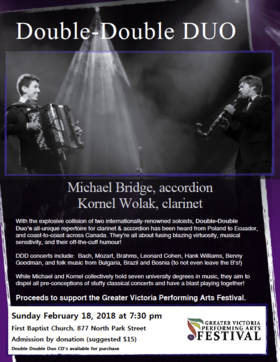 Double-Double Duo Concert: Michael Bridge, Kornel Wolak @ First Baptist Church Feb 18 2018 - Feb 21st @ First Baptist Church