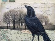 Raven in winter, encaustic collage. by  Wilma Millette