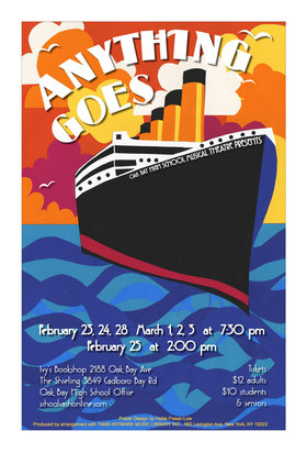 Oak Bay High School Musical Theatre Presents Anything Goes @ Dave Dunnet Community Theatre (Oak Bay High School) Feb 23 2018 - Feb 26th @ Dave Dunnet Community Theatre (Oak Bay High School)
