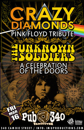 Psychedelic Rock'n'Roll Bash!: Crazy Diamonds, The Unknown Soldiers @ Pub 340 Mar 16 2018 - Aug 6th @ Pub 340
