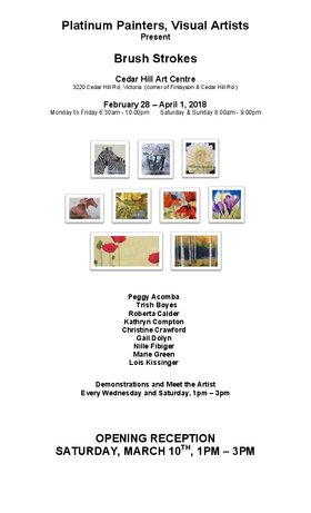 "Platinum Painter's ""Brush Strokes"": Peggy Acomba, Marie Green, Trish Boyes, Lois Kissinger, Roberta Calder, Kathryn Compton, Christine Crawford, Gail Dolyn, Nille Fibiger @ The Arts Centre at Cedar Hill  Feb 28 2018 - Mar 8th @ The Arts Centre at Cedar Hill"