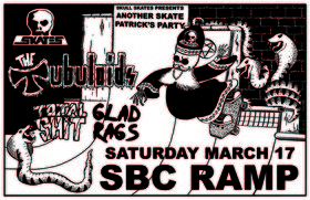 Another Skate Patrick's Party: The Tubuloids, Total Shit, Glad Rags @ SBC Restaurant Mar 17 2018 - Feb 15th @ SBC Restaurant