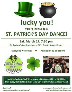 St. Patrick's Day Dance: Twelve O' Clock Rock @ St. Andrew's Hall Mar 17 2018 - Oct 16th @ St. Andrew's Hall