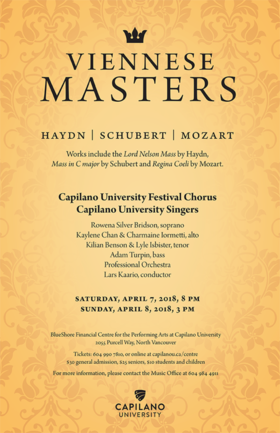 VIENNESE MASTERS - HAYDN, SCHUBERT, MOZART: Capilano University Choirs @ BlueShore Financial Centre for the Performing Arts at Capilano U Apr 7 2018 - Jun 1st @ BlueShore Financial Centre for the Performing Arts at Capilano U