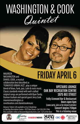Funkified Urban Jazz: Maureen Washginton, Daniel Cook @ Upstairs Lounge - Oak Bay Recreation Centre Apr 6 2018 - Mar 31st @ Upstairs Lounge - Oak Bay Recreation Centre