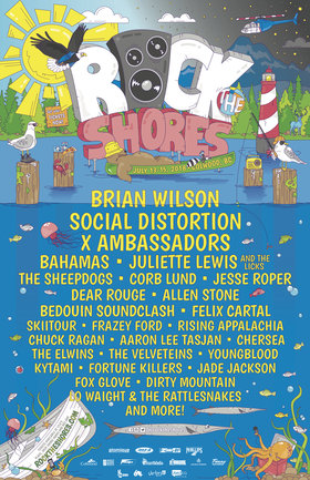 Rock The Shores: Brian Wilson , Social Distortion, X Ambassadors, Bahamas, Juliette Lewis and the Licks, The Sheepdogs, Dear Rouge, Allen Stone, Bedouin Soundclash, Felix Cartal, SkiiTour and , Frazey Ford, Rising Appalachia, Chuck Ragan, AARON LEE TASJAN, Chersea, The Elwins, The Velveteins, Youngblood, Kytami, Fortune Killers, Jade Jackson, Fox Glove, Dirty Mountain, Lo Waight & The Rattlesnakes @ West Shore Parks and Rec Centre Jul 14 2018 - Oct 16th @ West Shore Parks and Rec Centre