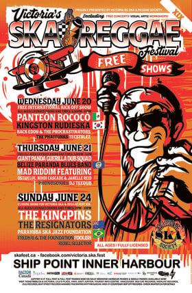 Victoria Ska & Reggae Fest XIX FREE INTERNATIONAL KICKOFF SHOW!: Panteón Rococó, Kingston Rudieska , Back Eddy and the Procrastinators, The Phatfunks, TecStylez @ Ship Point (Inner Harbour) Jun 20 2018 - Sep 26th @ Ship Point (Inner Harbour)