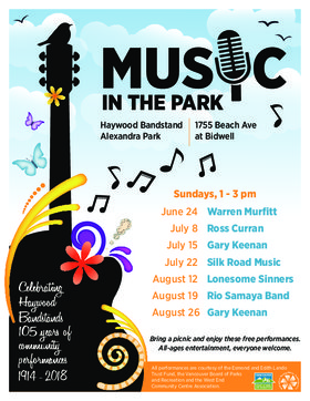 Music in the Park: Silk Road Music @ The Haywood Bandstand Jul 22 2018 - Dec 10th @ The Haywood Bandstand