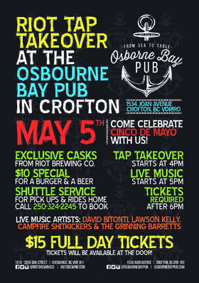 Riot Tap Takeover: David Bitoni, Lawson Kelly, CAMPFIRE SHITKICKERS, The Grinning Barretts @ Osborne Bay Pub May 5 2018 - Mar 25th @ Osborne Bay Pub
