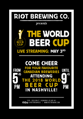 World Beer Awards - Live Stream @ Riot Brewing Co. May 3 2018 - Mar 25th @ Riot Brewing Co.