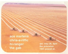 Ace Martens, Chris-a-riffic, Hi-Ranger, The Gab @ Princeton Pub May 26 2018 - Aug 21st @ Princeton Pub