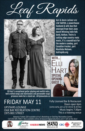 Juno Award Winning Duo: Leaf Rapids, Elli Hart @ Upstairs Lounge - Oak Bay Recreation Centre May 11 2018 - Mar 31st @ Upstairs Lounge - Oak Bay Recreation Centre