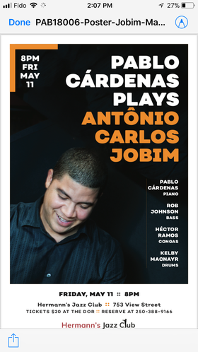 Pablo Cardenas Plays The Best Of Jobim: Pablo Cardenas @ Hermann's Jazz Club May 11 2018 - Jan 15th @ Hermann's Jazz Club