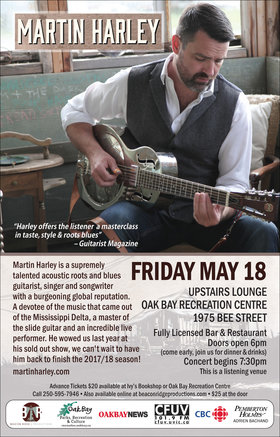 UK Blues Master: Martin Harley @ Upstairs Lounge - Oak Bay Recreation Centre May 18 2018 - Mar 31st @ Upstairs Lounge - Oak Bay Recreation Centre